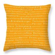 Berlin In Words Orange Throw Pillow