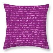 Berlin In Words Pink Throw Pillow