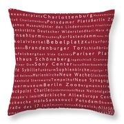 Berlin In Words Red Throw Pillow