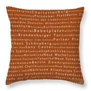 Berlin In Words Toffee Throw Pillow