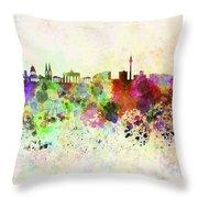 Berlin Skyline In Watercolor Background Throw Pillow