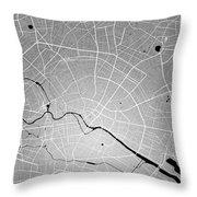 Berlin Street Map - Berlin Germany Road Map Art On Colored Backg Throw Pillow