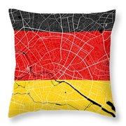 Berlin Street Map - Berlin Germany Road Map Art On German Flag Background Throw Pillow