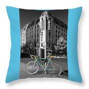 Berlin Street View With Bianchi Bike Throw Pillow