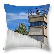 Berlin Wall Memorial A Watchtower In The Inner Area Throw Pillow