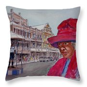 Bermuda Lady In Red And Cop Throw Pillow