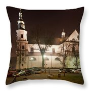 Bernandine Church At Night In Krakow Throw Pillow