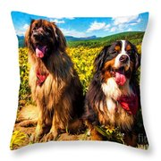 Bernese Mountain Dog And Leonberger Among Wildflowers Throw Pillow