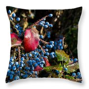 Berries And Red Leaves After The Rain Throw Pillow