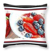 Berries And Yogurt Illustration - Food - Kitchen Throw Pillow