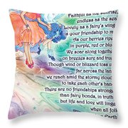 Berry Fairy Friends Poem Throw Pillow