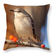 Berry Happy Mockingbird Throw Pillow