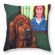 Bloodhound - Bervil And Blue Throw Pillow