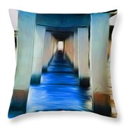 Beside The Cool Blue Waters Throw Pillow by Jimi Bush
