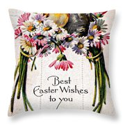 Best Easter Wishes To You 1909 Vintage Postcard Throw Pillow
