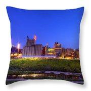 Best Minneapolis Skyline At Night Blue Hour Throw Pillow