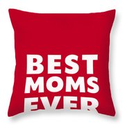 Best Moms Card- Red- Two Moms Mother's Day Card Throw Pillow