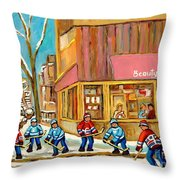 Best Sellers Original Montreal Paintings For Sale Hockey At Beauty's By Carole Spandau Throw Pillow