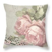 Best Wishes Vintage Roses Card  Throw Pillow