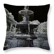 Bethesda Fountain Abstract Throw Pillow