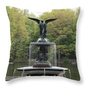 Bethesda Fountain Central Park Nyc Throw Pillow