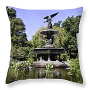 Bethesda Fountain Iv - Central Park Throw Pillow