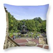 Bethesda Fountain V - Central Park Throw Pillow
