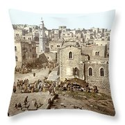 Bethlehem Manger Square 1900 Throw Pillow