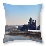 Bethlehem Steel And The Lehigh River Throw Pillow