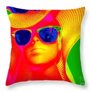 Betsy In Blue Sunglasses Throw Pillow