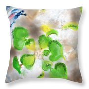 Betta Fish Blowing Bubbles Throw Pillow by Lois Ivancin Tavaf