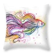Betta Fish Watercolor Throw Pillow