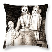 Bettina And The Twins Throw Pillow