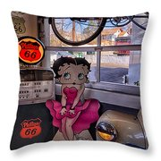 Betty Boop At Albuquerque's 66 Diner Throw Pillow