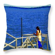 Between Sky And Sea Lachine Canal Viewing Pier Picturesque Water Scenes Montreal Art Carole Spandau Throw Pillow