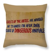 Beware Throw Pillow