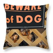 Beware Of Dog Throw Pillow by John Dauer
