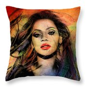 Beyonce Throw Pillow by Mark Ashkenazi