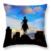 George Washington Statue - Boston Throw Pillow by Joann Vitali