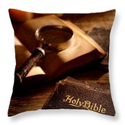 Bible Study Throw Pillow by Olivier Le Queinec