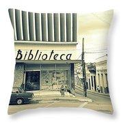 Biblioteca Cubana Throw Pillow