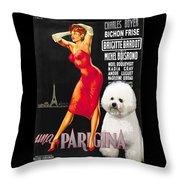 Bichon Frise Art - Una Parigina Movie Poster Throw Pillow