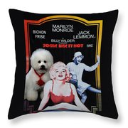 Bichon Frise Art- Some Like It Hot Movie Poster Throw Pillow