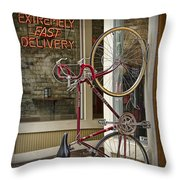 Bicycle Attached To Wall Outside Of Fast Food Restaurant Throw Pillow