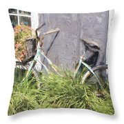 Bicycle Basket Of Flowers Painterly Effect Throw Pillow