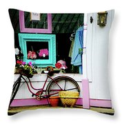 Bicycle By Antique Shop Throw Pillow