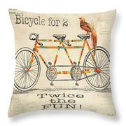 Bicycle For 2 Throw Pillow