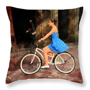 Bicycle Girl 1c Throw Pillow