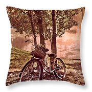 Bicycle In The Park Throw Pillow