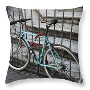Bicycle Is Chained To A Fence Throw Pillow